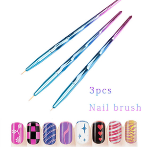 3PCS/Set Professional Nail Handle Liner Acrylic Brush Draw Brush Pen