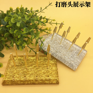 12holes Gold Silver Nail Drill Bits Display Nail Art Tools