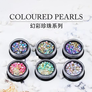 Mixed Colorful Pearl Beads and Diamod for Nail Art Decoration