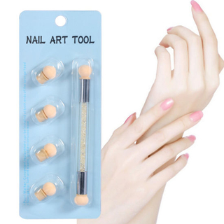 2-Head Nail Art Sponge Gradient Dotting Brush with 4-Sponge Head