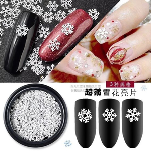 Snow Flake 3D White Slices Sequins Piece Manicure Accessories Decoration
