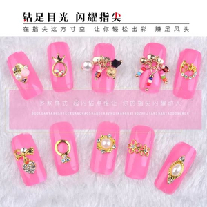 3D Charms Gold Metal Alloy Diamonds Pearls Nail Jewelry Accessories