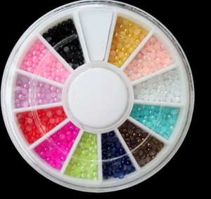 Round Colorful Nail Art Pearls for Nail Beauty
