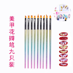9PCS Flower Painting Brush Set Nail Art Decorations Brush Set