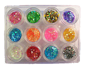 Nail Decoration of Nail Art Hexagon Spangle Set
